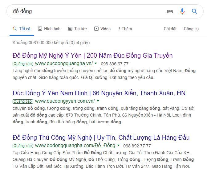 Quảng cáo google ads đồ đồng